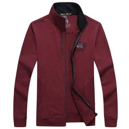 汤河之家 卫衣男士开衫大码男装立领纯棉外套 1501-766