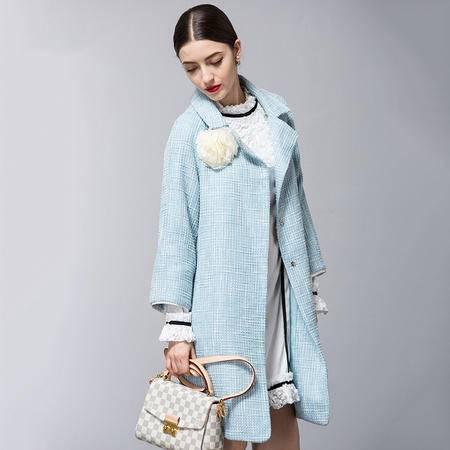 施悦名 2016秋冬新款欧美风衣女大码宽松九分袖女式大衣中长款外套 6904