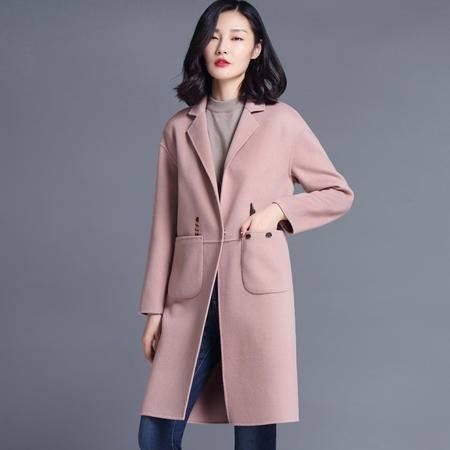 施悦名 2016新款高端手工双面羊绒大衣女中长款韩版羊毛大衣呢外套