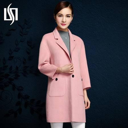 施悦名 2016秋冬新款双面羊绒大衣暗扣中长款羊毛外套修身西装领女装
