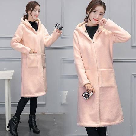 施悦名 2016新款女装冬韩版宽松大码中长款毛呢外套连帽大衣
