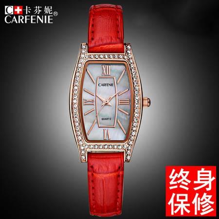汤河之家 卡芬妮酒桶形手表镶钻带钻防水女表真皮带水钻女式女生韩版腕表