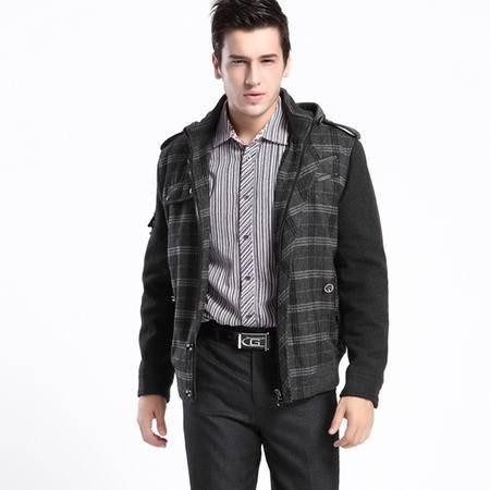 汤河之家 2016秋冬新款男装连帽多口袋毛呢夹克上衣开衫外套 HJHD3H021/022C