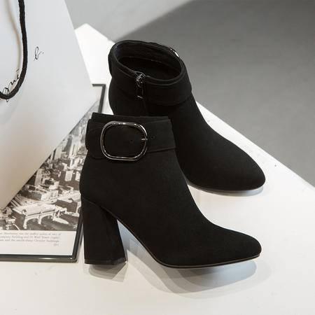 小童马 冬季新款真皮高跟女靴 欧美时尚粗跟短靴休闲马丁靴 M 889