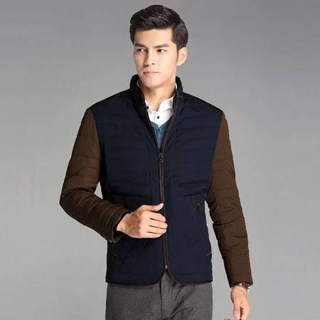 汤河之家 男士时尚休闲修身拼接立领羽绒服 青年短款轻薄保暖潮外套  DMETY010S-B2