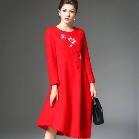 施悦名 2016年秋冬季新款 欧美女装混羊毛显瘦绣花长裙 简约修身连衣裙