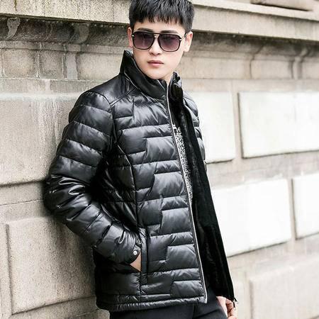 汤河之家 2016冬季款男士真皮皮羽绒服 时尚休闲修身保暖真皮外套 08-10