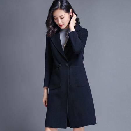 施悦名 2016秋冬新品女装中长款韩版修身双面羊绒大衣女羊毛呢外套