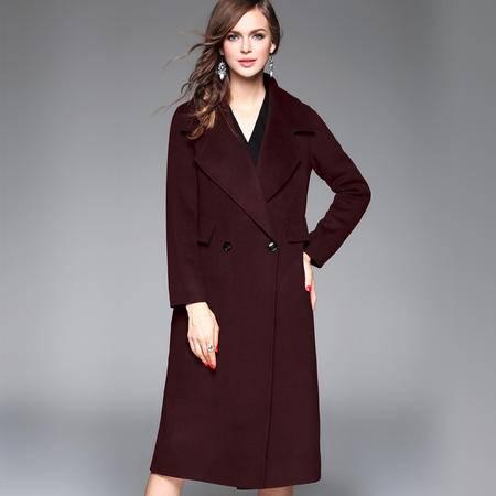 施悦名 2016秋冬女装新款 双面羊毛手工大衣欧洲站气质纯色外套