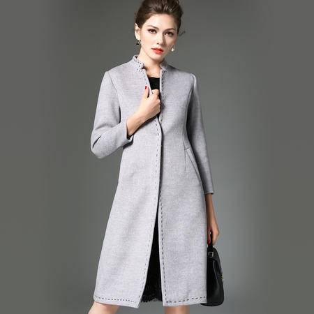 施悦名 2016秋冬女装外套 欧美风时尚立领气质外披 修身九分袖外套