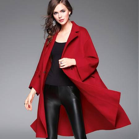 施悦名 2016秋冬女装新款 潮流精品纯色中长款双面羊毛手工大衣外套女
