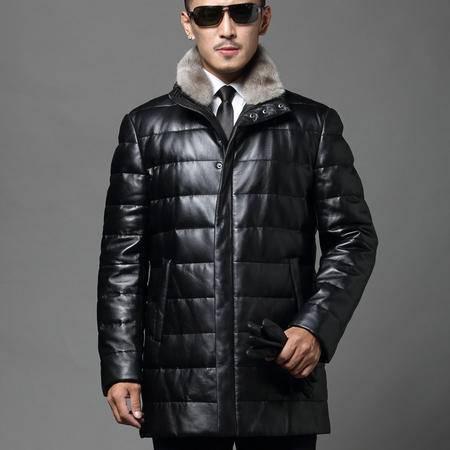 汤河之家 优质绵羊皮真皮羽绒服男 长款海宁绵羊皮衣 16010