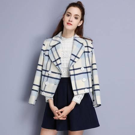 施悦名 欧洲站女装2016冬装新款名媛风双排扣格子短款毛呢外套