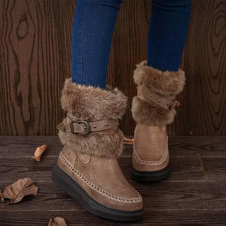 小童马 雪地靴高端真皮女靴2016冬季棉靴皮带扣毛绒牛皮短靴厚底 T829-8