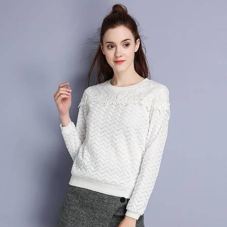 施悦名 2016冬季新款淑女T恤百搭打底卫衣加绒蕾丝衫