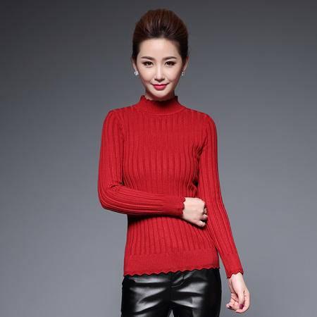 施悦名 秋冬新款简约高领花边设计套头纯色针织衫百搭修身打底衫