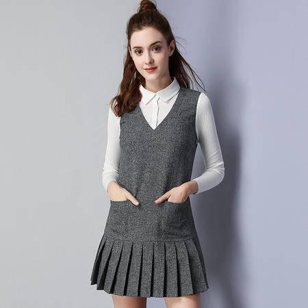施悦名 2016冬季新款假两件淑女打底裙保暖加绒连衣裙