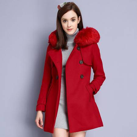 施悦名 欧洲站女装2016冬装新款双排扣毛呢外套淑女大毛领大衣