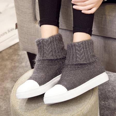 小童马 欧洲站2016新款圆头时尚个性针织毛线弹力靴平底舒适休闲短靴女靴   751