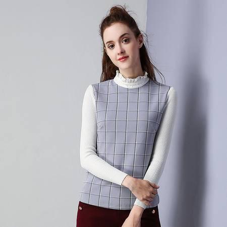 施悦名 2016冬装新款加绒高领上衣格子打底衫休闲T恤