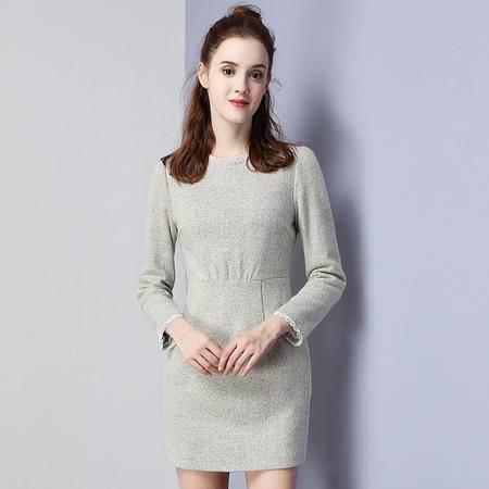 施悦名 原创女装2016冬季新品纯色包臀打底裙淑女毛呢连衣裙