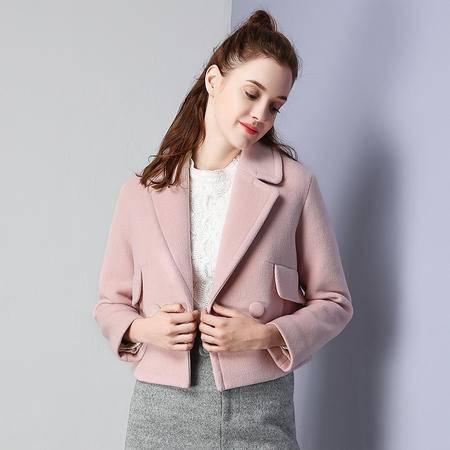 施悦名 2016冬季新品短款甜美小香风西装毛呢外套