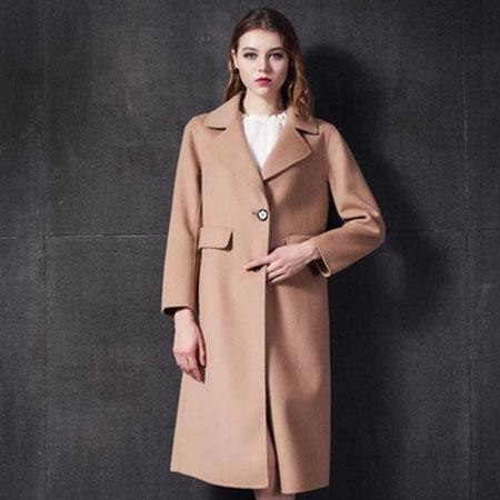 施悦名 2016秋冬新款 毛呢子大衣中长款外套 欧美西装领双面羊绒