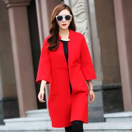 施悦名 纯手工双面羊绒大衣女100%羊毛双面呢风衣加长款加厚外套