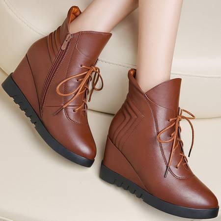 小童马 女鞋休闲圆头高跟靴子短靴坡跟侧拉链舒适马丁靴   6D625