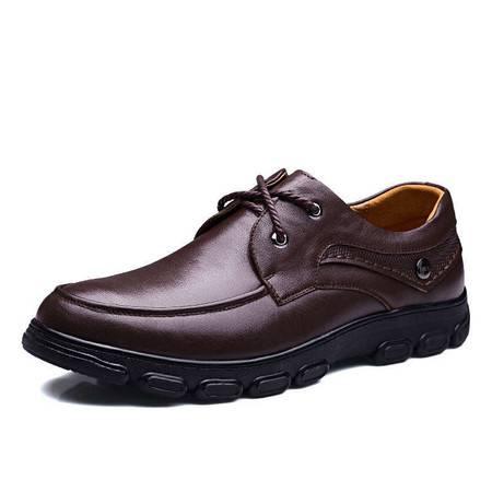 小童马 皮鞋新款男士商务休闲皮鞋真皮系带大码男鞋45 46 47 48码   95029