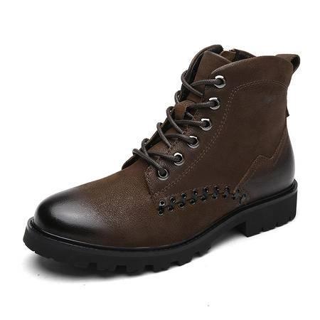 小童马 冬季耐磨真皮马丁靴男英伦风高帮男短靴加绒棉鞋复古工装靴 1291