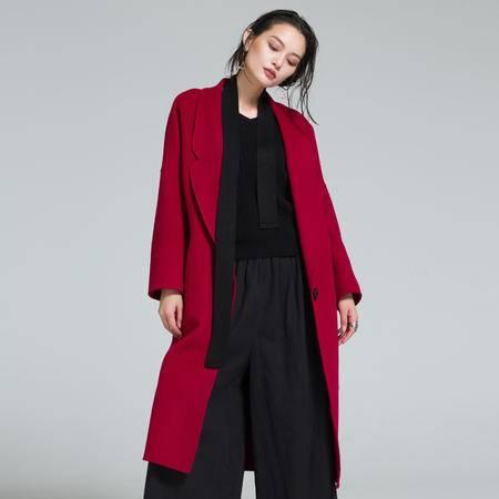 施悦名 2016年秋冬新款韩版女装时尚修身双面毛呢外套长款呢子大衣潮
