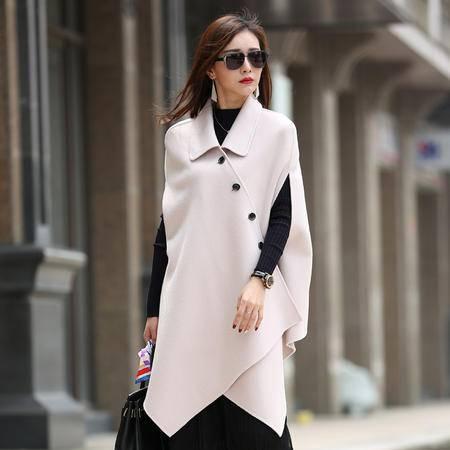 施悦名 2016秋冬新款韩版蝙蝠型双面呢大衣 纯色中长款无袖羊毛呢外套