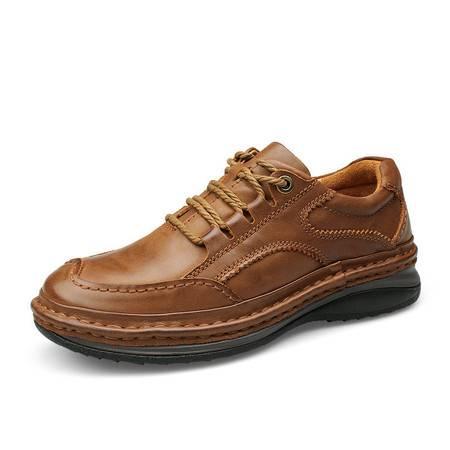 小童马 男鞋秋季手工缝线厚底耐磨户外鞋男士商务大码休闲鞋   2902