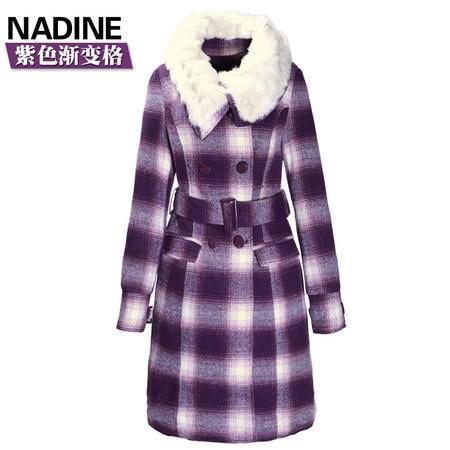施悦名 冬装新品英伦格子加厚毛呢大衣女过膝长款毛呢外套可脱卸内胆