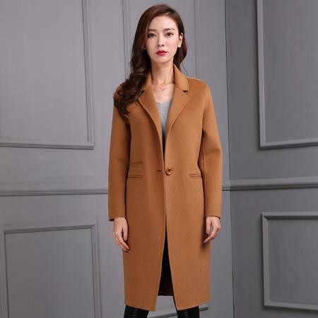 施悦名 2016秋冬新款韩版羊毛大衣 中长款羊绒大衣 毛呢外套双面尼风衣女
