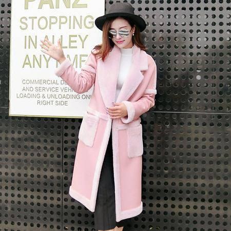 施悦名 海宁2016冬季新款美利奴真羊毛羊皮毛一体大衣女士中长款皮草外套
