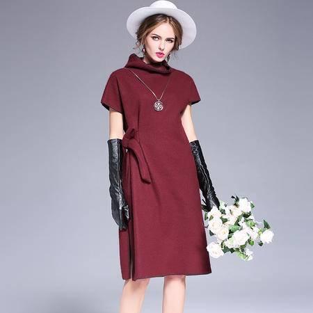 施悦名 2016秋冬新款欧美高端质感厚实毛衣开叉针织裙加厚女装