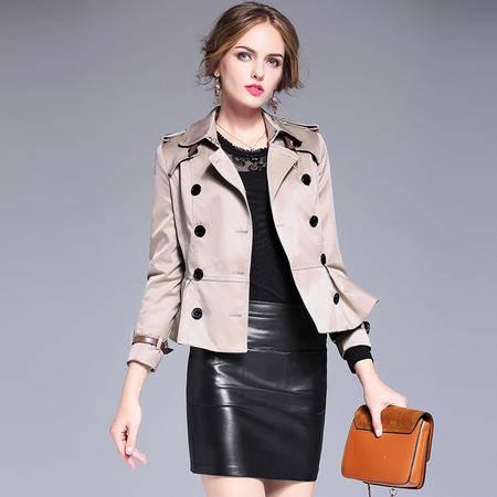 施悦名 欧洲站2016收腰显瘦新款秋装短款百搭风衣女装翻领双排扣外套
