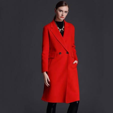 施悦名 双面呢羊绒大衣女中长款2016秋冬新款双排扣西装领修身羊毛呢外套