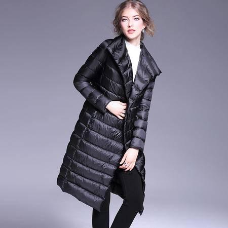 施悦名 秋冬装新款羽绒服纯色修身加长款保暖外套蝴蝶结系带腰带
