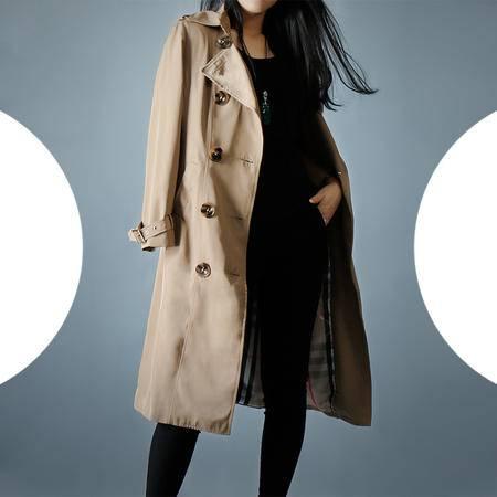 施悦名 2016秋季新款大码女装高档大牌双排扣大衣修身中长款风衣外套欧美