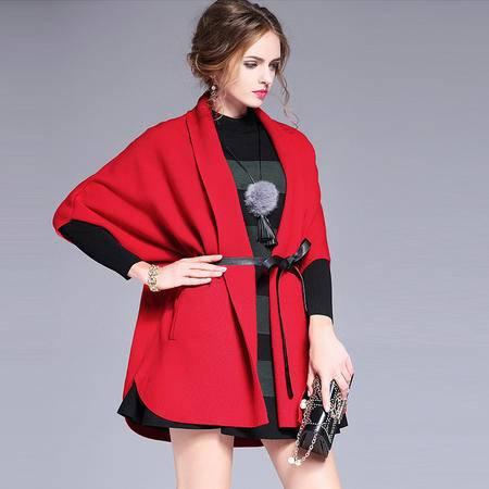 施悦名 欧美2016秋冬新款宽松加厚毛衣外套开衫翻领蝙蝠袖针织衫女