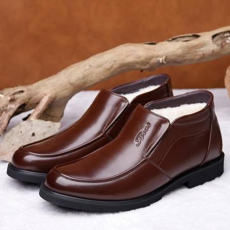 小童马 冬季新款男士加绒加厚保暖皮靴纯羊毛棉靴套脚男鞋靴子   Y8987