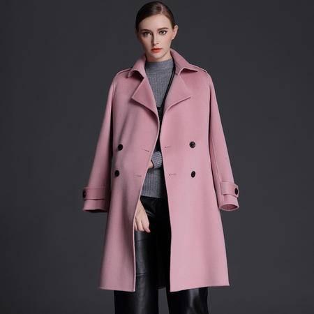 施悦名 2016秋季新款双面羊绒大衣女双排扣修身羊毛呢风衣外套欧美高端