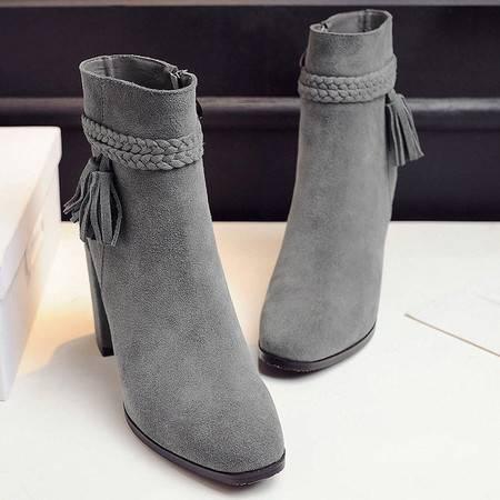 小童马 新款牛反绒低筒韩版流苏高跟方头橡胶侧拉链女式马丁靴 WWW-0129