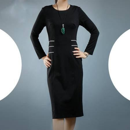 施悦名 2016秋季新款大码女装纯色长袖连衣裙欧美高档修身显瘦铅笔中裙
