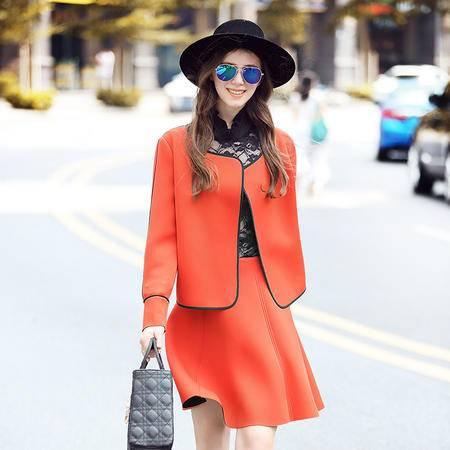 施悦名 2016新款欧美风显瘦大码女装撞色长袖上衣收腰A字裙两件套