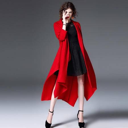 施悦名 2016冬季新款女装 欧美时尚大摆毛呢斗篷外套 呢子大衣女