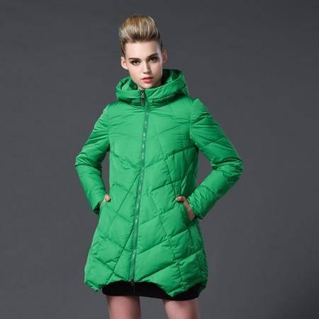 施悦名 2016秋冬欧美高端女装新款中长款棉衣修身连帽加厚女外套大码女装